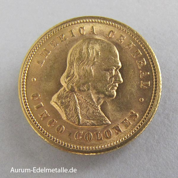 Umlaufmünze Gold Costa-Rica-5-Colones-1899-1900 Goldankauf Hamburg City